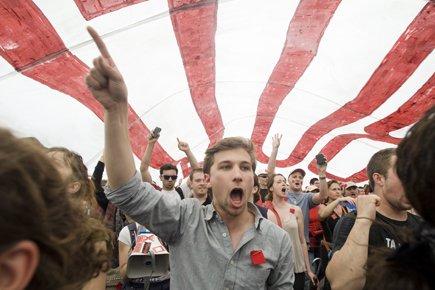 Gabriel Nadeau-Dubois lors de la manifestation monstre du... (Photo: PC)