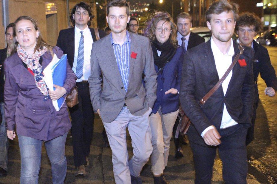 Martine Desjardins, Léo Bureau-Blouin et Gabriel Nadeau-Dubois mardi... (Photo AFP)