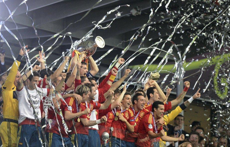 Les joueurs de l'Espagne étaient en liesse après...