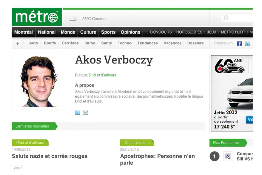 Le blogueurAkos Verboczy a eu la surprise de... (Image tirée du site de Métro)