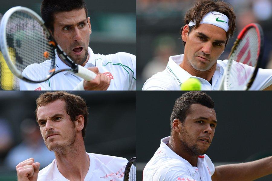 Novak Djokovic, Roger Federer, Andy Murray et Jo-Wilfried... (Photos: AFP)