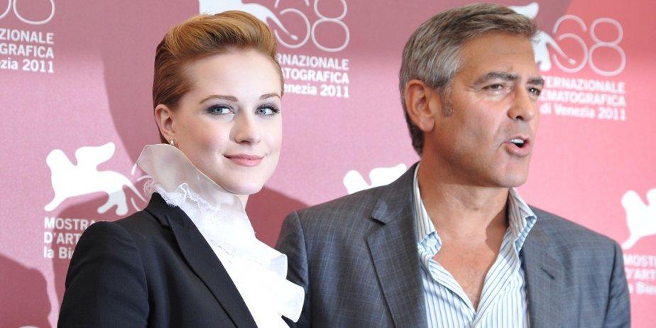 L'actrice américaine Eva Rachel Wood et George Clooney,...