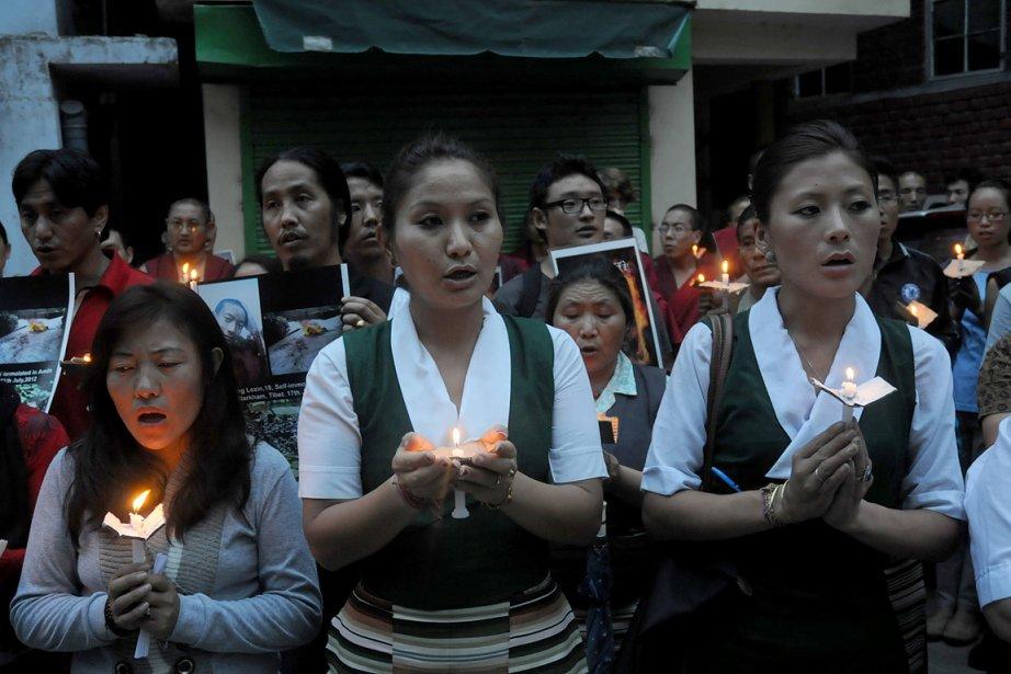 Des exilés tibétains, à McLeod Ganj en Inde,... (Photo: AFP)