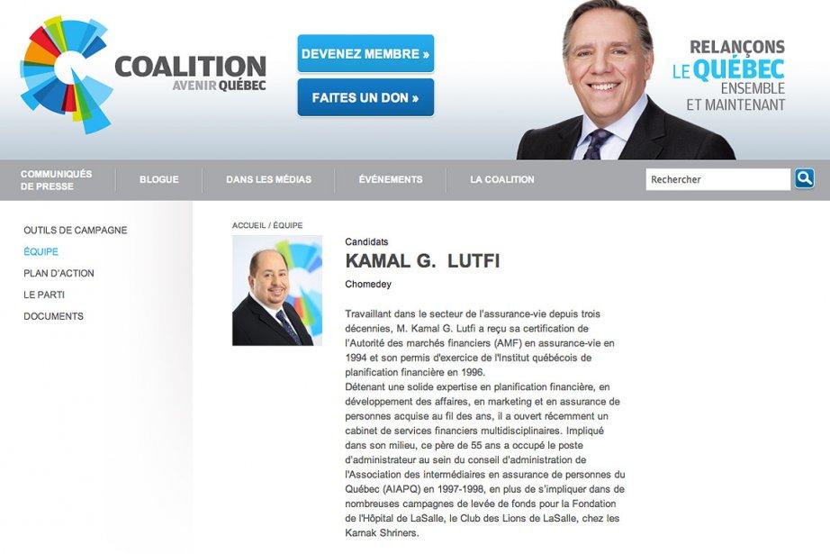 La page du candidat Kamal G. Lutfi a... (Photo: tirée du site internet de la CAQ)