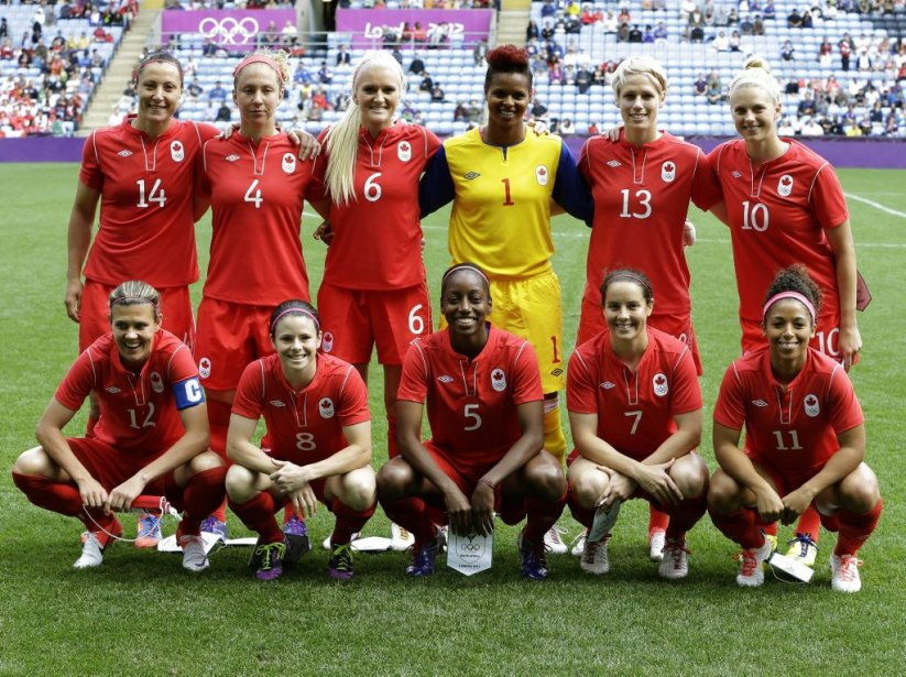 L'équipe canadienne de soccer féminin. | 28 juillet 2012