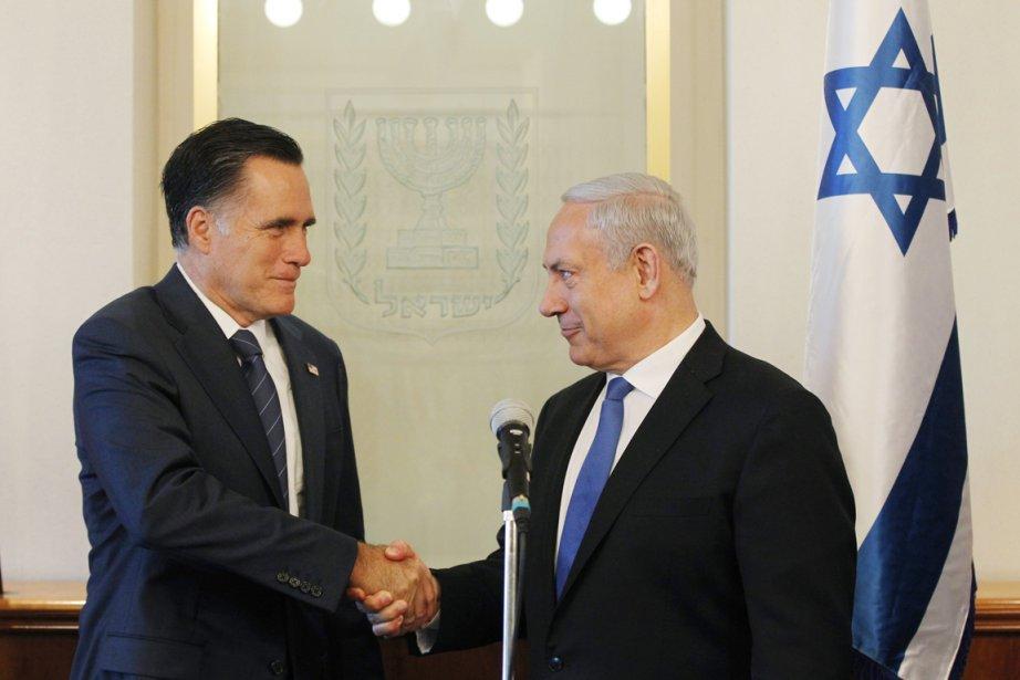 Mitt Romney et le premier ministre israélien Benyamin Nétanyahou. | 30 juillet 2012