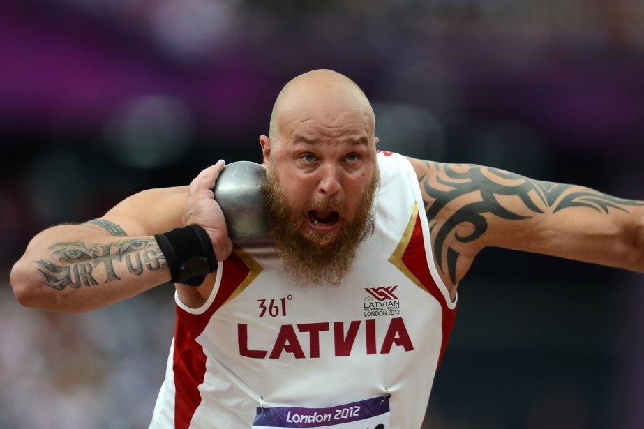 Le lanceur de poids letton Maris Urtans. | 3 août 2012