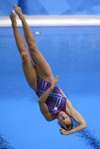 La Québécoise Émilie Heymans au tremplin de 3 m. | 3 août 2012