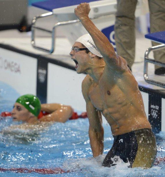 Le Français Florent Manaudou explose de joie après avoir mis... | 2012-08-03 00:00:00.000