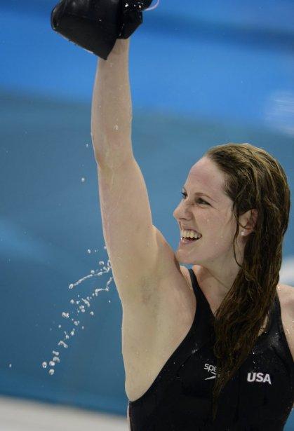 L'Américaine Missy Franklin a décroché l'or au 200 mètres dos - sa quatrième médaille au total aux Jeux de Londres - en plus d'établir un record du monde. | 3 août 2012