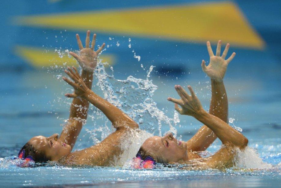 Le duo canadien de nage synchronisée, composé de Marie-Pier Boudreau-Gagnon et Élise Marcotte, a pris le quatrième rang à l'issue du programme technique. | 5 août 2012