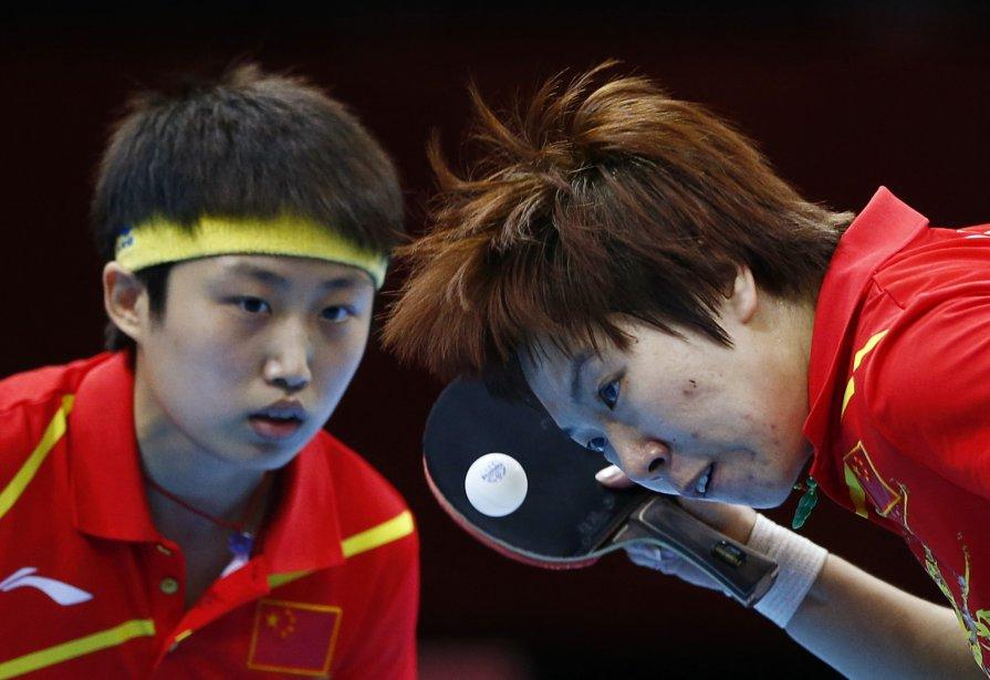Les Chinoises Li Xiaoxia and Guo Yue affrontaient les Sud-Coréennes Seok Hajung et Dang Yaseo en demi-finale au tennis de table. | 6 août 2012