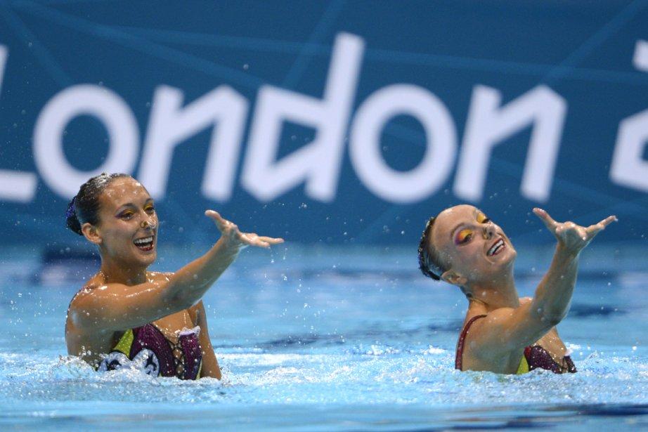 Élise Marcotte et Marie-Pier Boudreau Gagnon ont obtenu 94,620 points pour leur programme libre, comparé aux 94,750 de la veille, lors du programme libre préliminaire. | 7 août 2012
