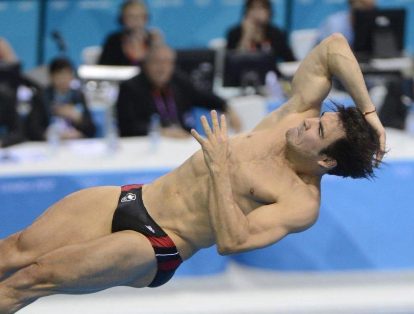 Alexandre Despatie en action durant la finale du 3 mètres. | 7 août 2012