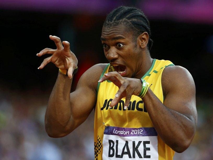 Yohan Blake esssaie d'intimider ses adversaires avant sa course de qualification au 200 m. | 8 août 2012