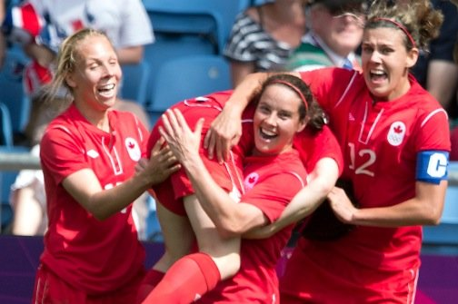 L'équipe canadienne féminine de soccer au Jeux de... (Photo archives La Presse Canadienne)