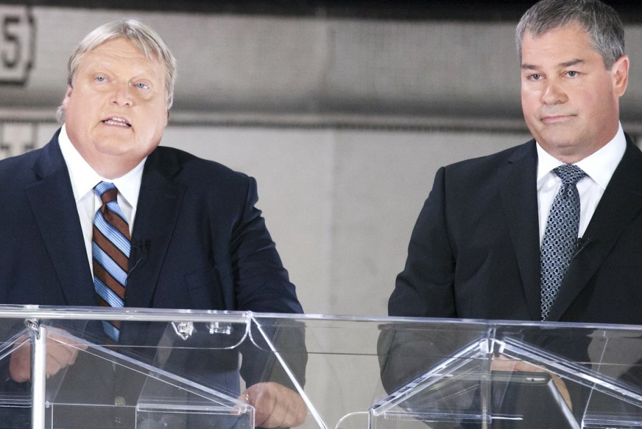 Le Drs Gaétan Barrette et Yves Bolduc ont... (PHOTO NINON PEDNAULT, LA PRESSE)