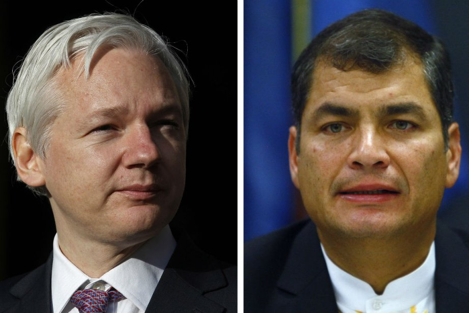 Julian Assange et le président équatorien Rafael Correa.... (PHOTO REUTERS)