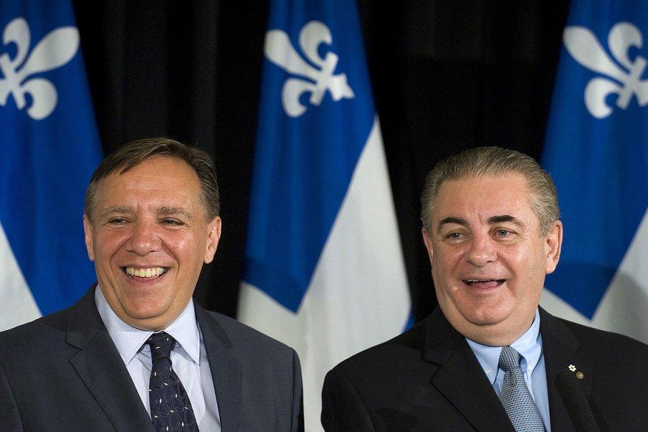 François Legault et Jacques Duchesneau, de la CAQ.... (Photo: PC)