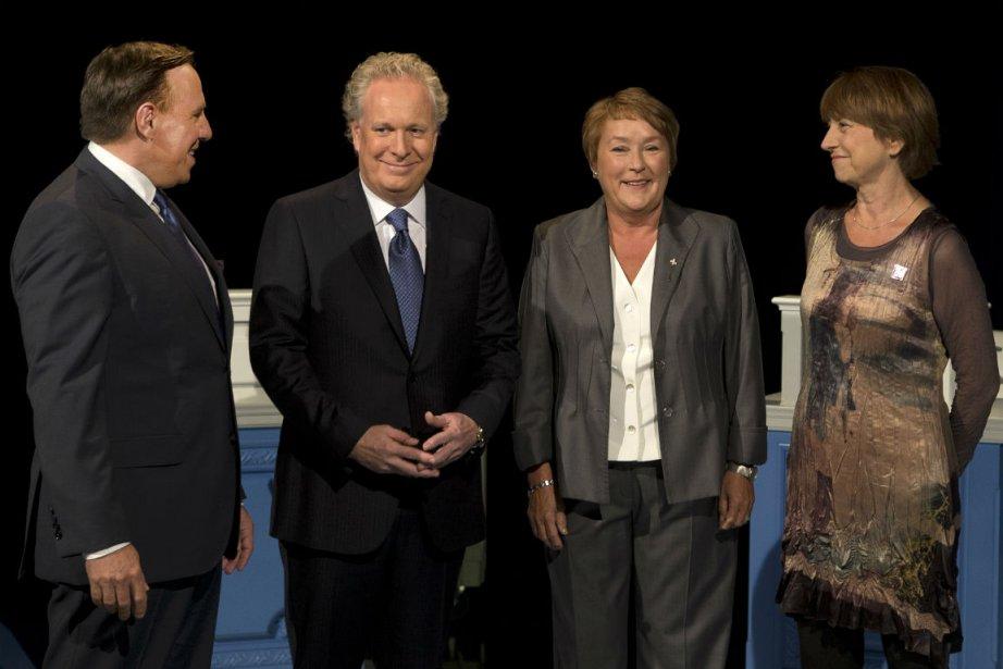 François Legault, Jean Charest, Pauline Marois et Françoise... (Photo Robert Skinner, La Presse)