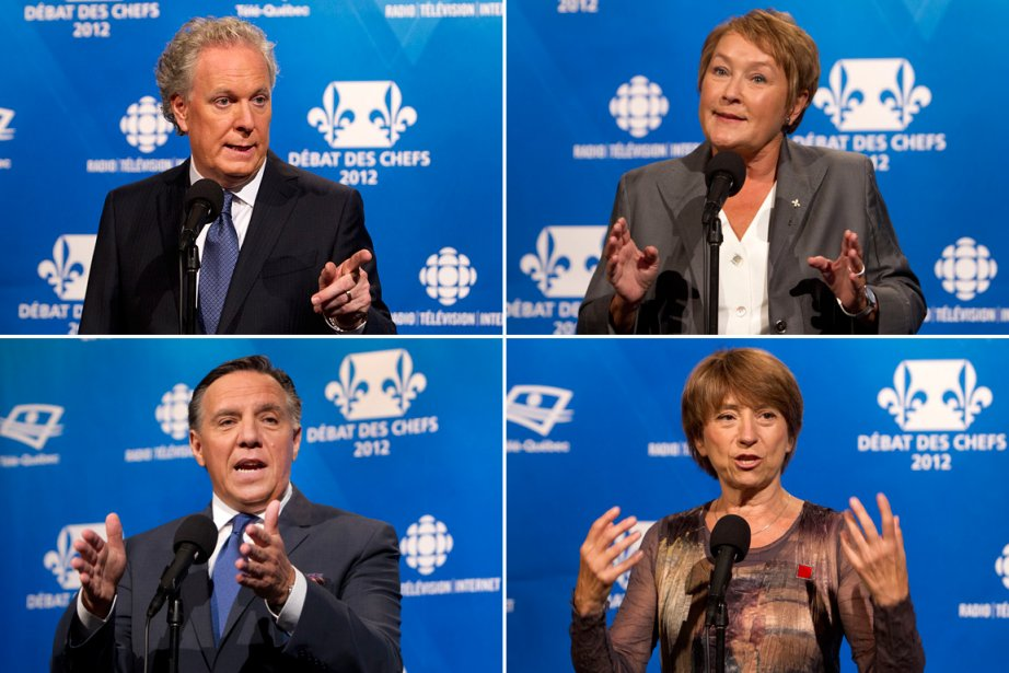 Jean Charest, Pauline Marois, François Legault, Françoise David.... (Photo: Robert Skinner, La Presse)