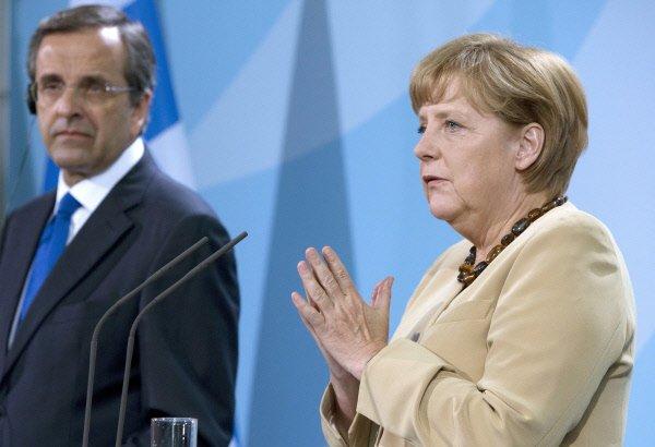 Antonis Samaras et Angela Merkel...