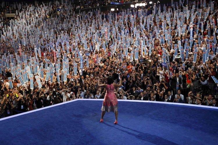 Michelle Obama a eu droit à une chaleureuse ovation lors de son entrée sur scène à la convention démocrate, mardi soir. | 4 septembre 2012