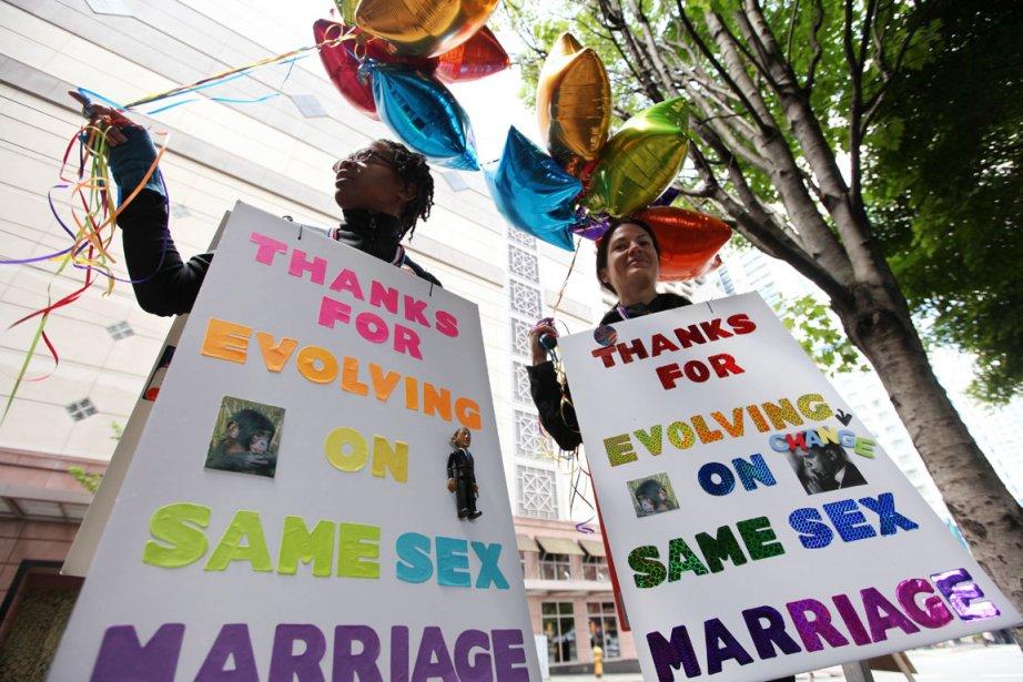 Les militants démocrates membres de la communauté gaie... (Photo : Elaine Thompson, AP)