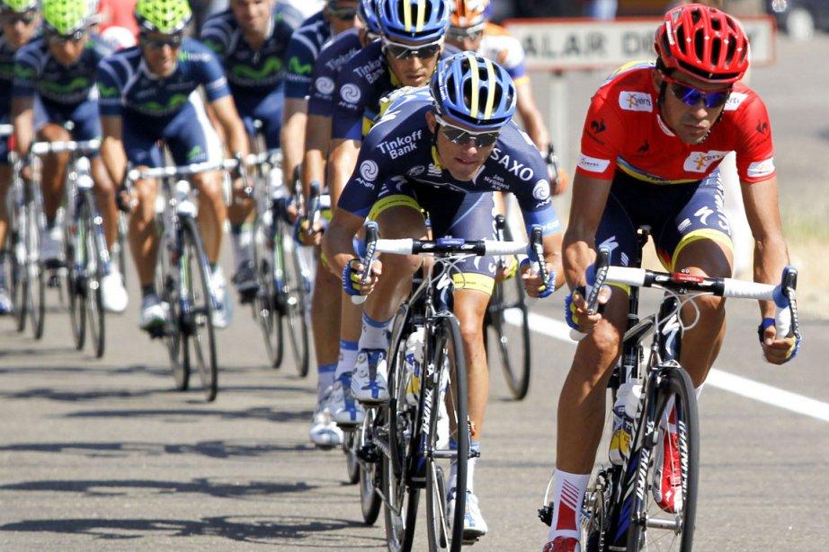 Au général, Contador reste toutefois paré de rouge... (Photo : Miguel Vidal, Reuters)