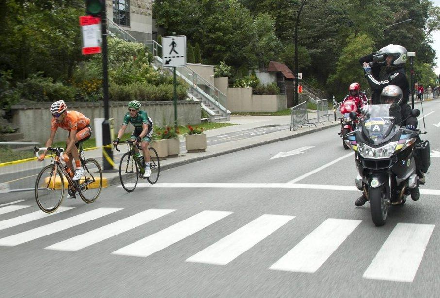 Egoi Martinez (orange, Euskatel) et Cyril Gauthier (vert, Europcar) | 9 septembre 2012