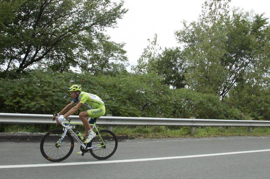 Kristijan Koren (55) de Liquigas-Cannondale dans la descente vers le chemin de la Côte-des-Neiges. | 9 septembre 2012