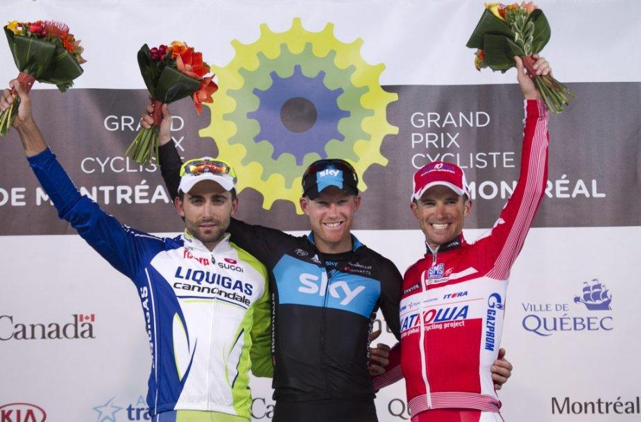 Le podium de l'épreuve de Montréal : Moreno Moser (2e) de Liquigas, le vainqueur Lars Petter Nordhaug de SKY et Alexandr Kolobnev de Katusha. | 9 septembre 2012