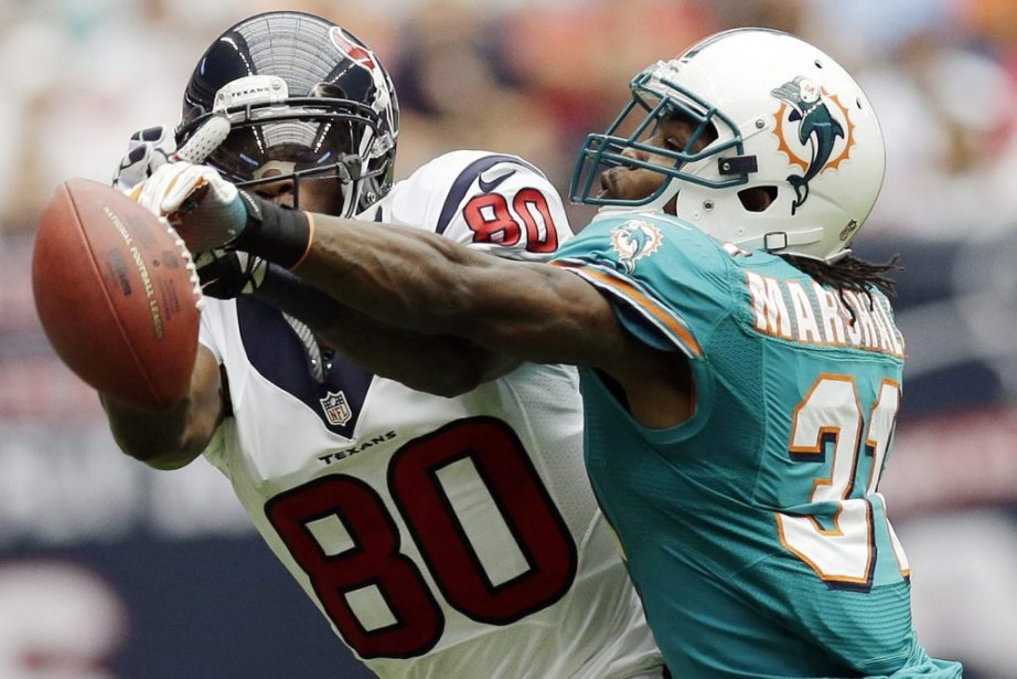 Miami Dolphins defensive back Richard Marshall (31) knocks the ball away from Houston Texans wide receiver Andre Johnson (80) in the second quarter of an NFL football game, Sunday, Sept. 9, 2012, in Houston. (AP Photo/David J. Phillip) | 10 septembre 2012