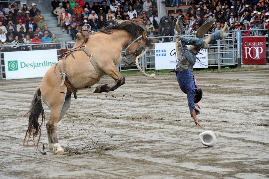 Ce cow-boy a été promptement éjecté par ce cheval sauvage lors d'un des rodéos présentés dimanche. | 10 septembre 2012