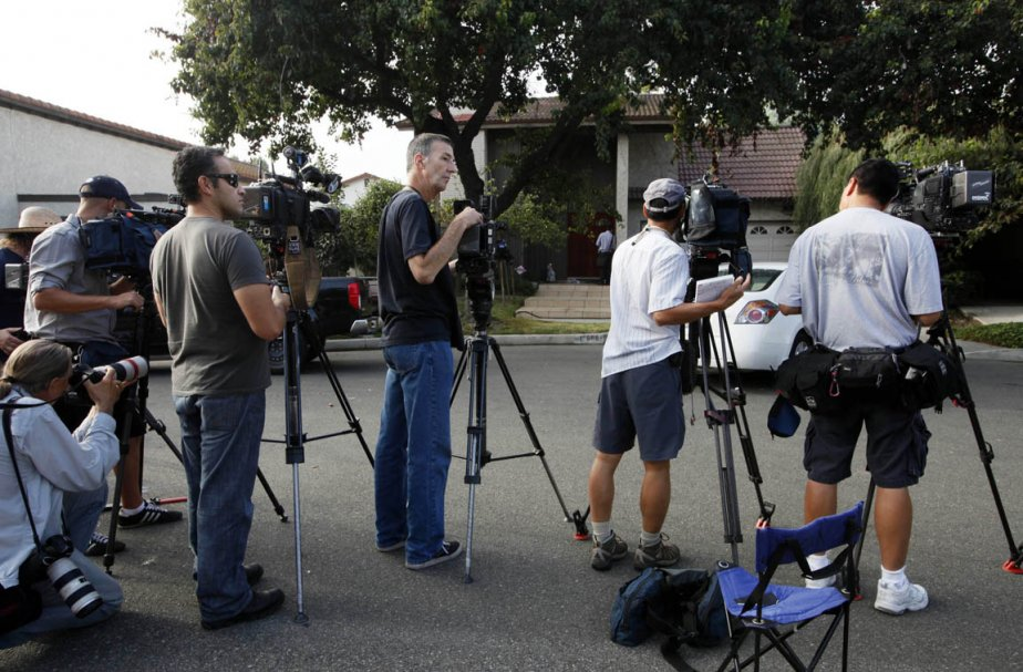 Des journalistes de la presse américaine devant la... (Photo: AP)