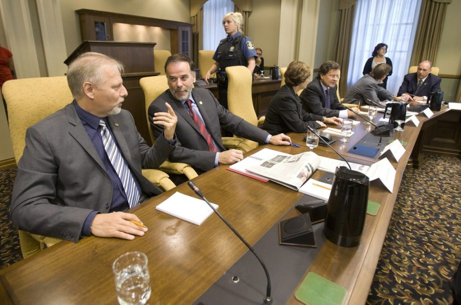 Jean François Lisée, Pierre Duchesne, Marie Malavoy, Bertrand St-Arnaud, Justice et Stéphane Bergeron. | 20 septembre 2012