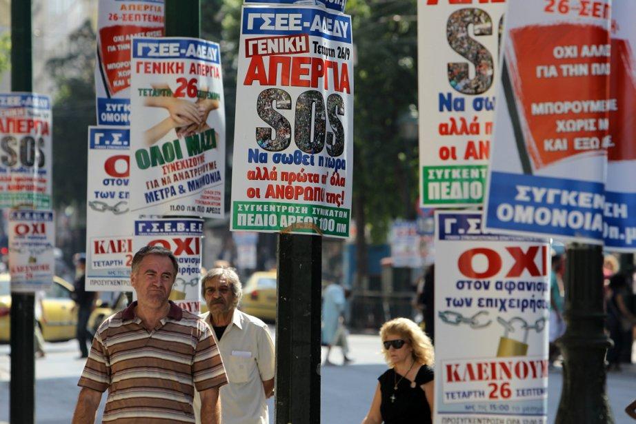Les deux principaux syndicats grecs appellent à une... (Photo Associated Press)