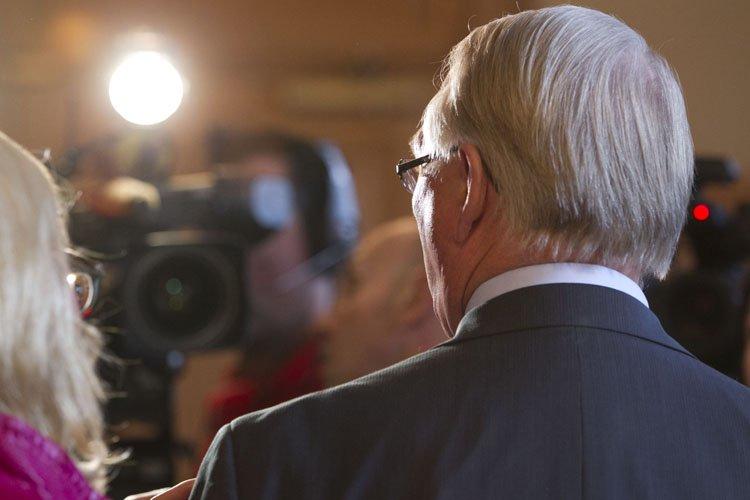 Gérald Tremblay en conférence de presse lundi après-midi.... (Photo: Hugo-Sébastien Aubert, La Presse)