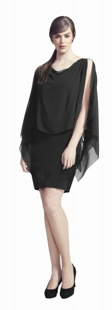 Robe sans manches en crêpe de satin et chiffon noir, Tailles Plus, 95 $ chez Reitmans | 3 octobre 2012