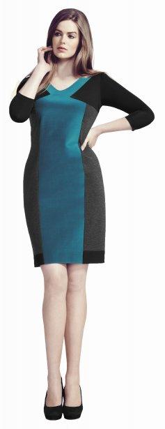 Robe fuseau avec blocs de couleur sarcelle, Tailles Plus, 95$ chez Reitmans | 3 octobre 2012