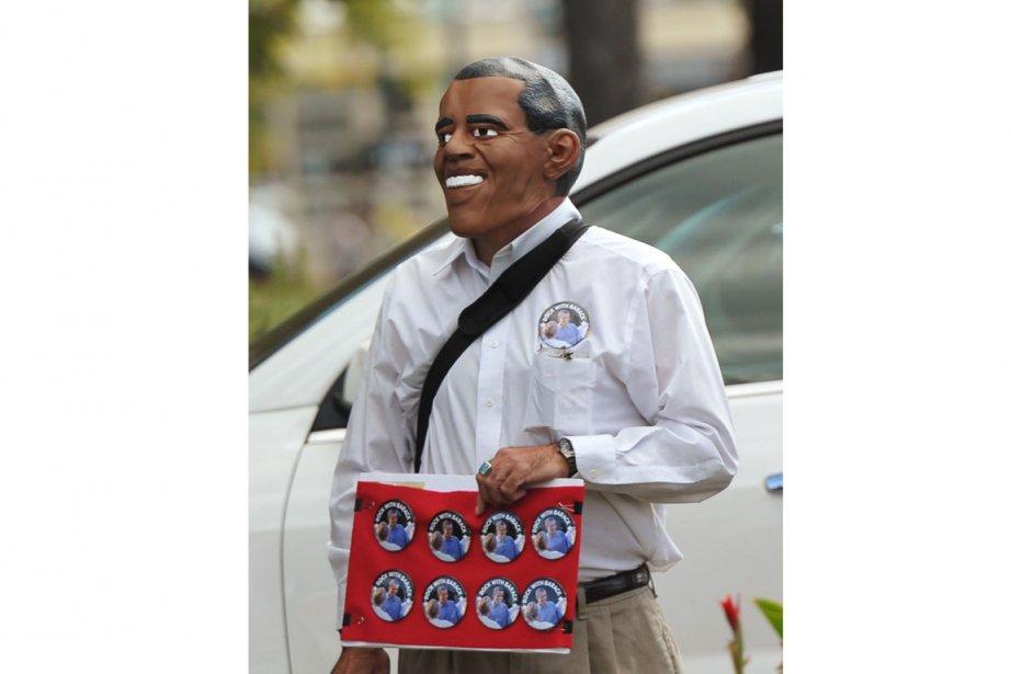 Un partisan de Barack Obama sur le campus... (Photo AFP)