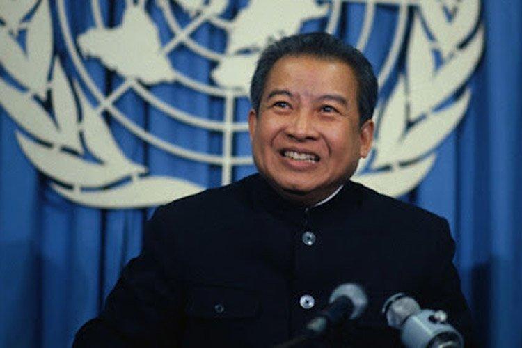 Norodom Sihanouk à l'ONU en 1979.... (Archives AP)