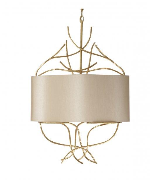 Lustre en métal avec feuilles d'or et quatre ampoules. 1750$ chez Décor inc. | 15 octobre 2012