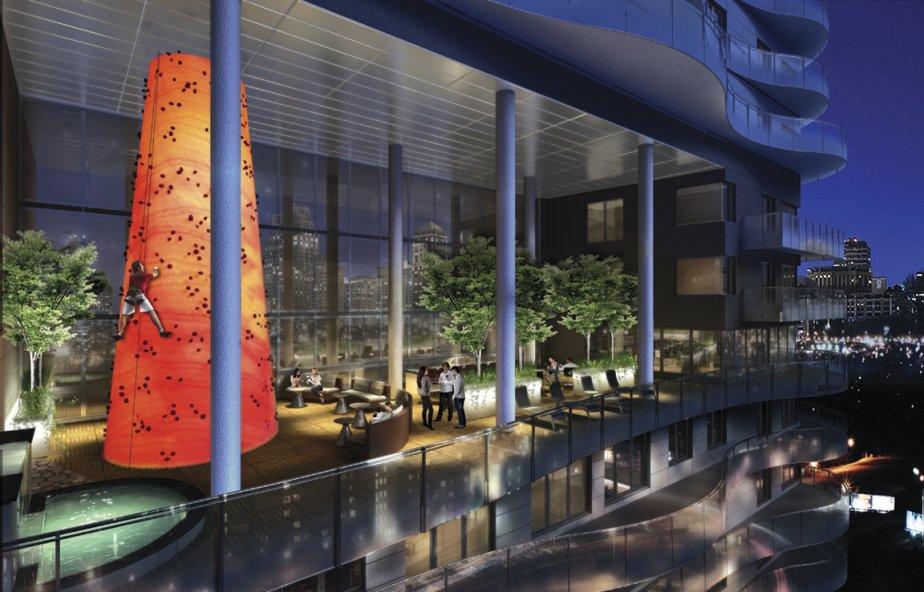 Au 25e étage, sur la terrasse équipée d'un mur d'escalade, les copropriétaires auront une vue dégagée sur les environs. | 15 octobre 2012