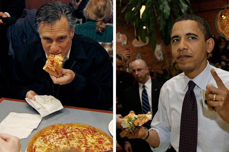 Mitt Romney et Barack Obama photographiés dans un... (Photos: AP)