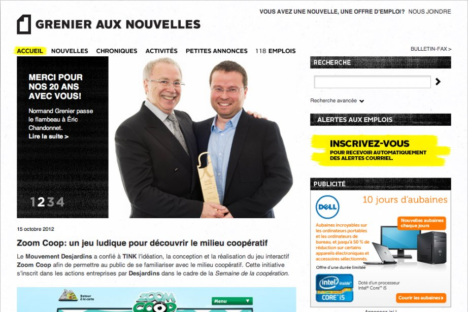 La page d'accueil du site du Grenier aux...