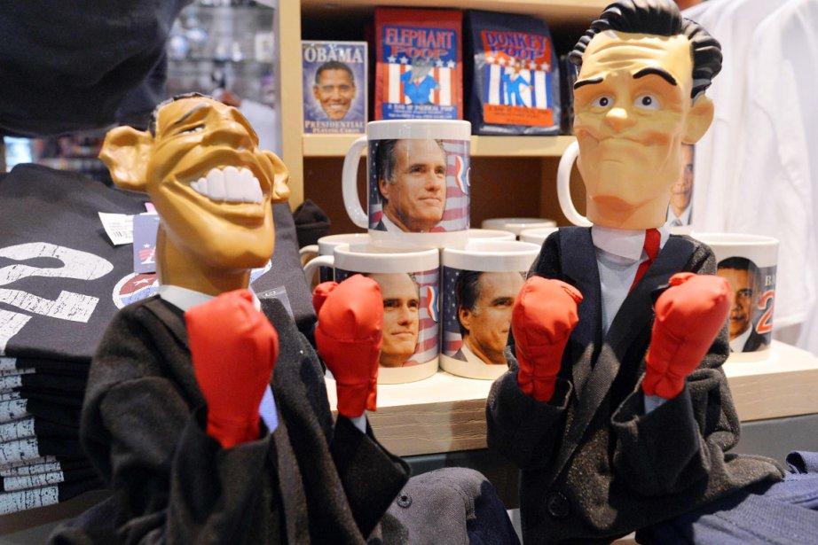 Des figurines à l'effigie du président sortant Barack... (PHOTO JEWEL SAMAD, AFP)