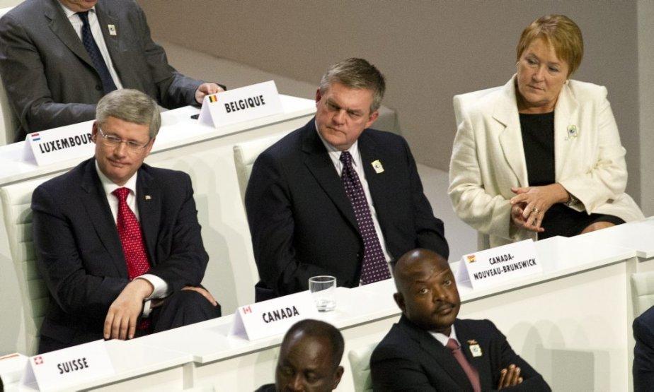 Les premiers ministres Stephen Harper, David Alward (Nouveau-Brunswick) et Pauline Marois au sommet de la Francophonie à Kinshasa. (PC)