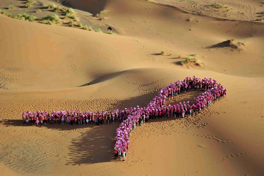 Les participantes du rallye Roses des Sables reproduisent... (PHOTO JULIEN ROCHER, AFP)