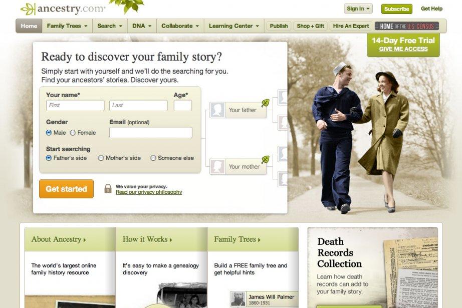 La page d'accueil du site Ancestry.com....